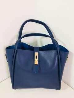 🚚 韓系 金釦寶藍時尚包 媽媽包也適用