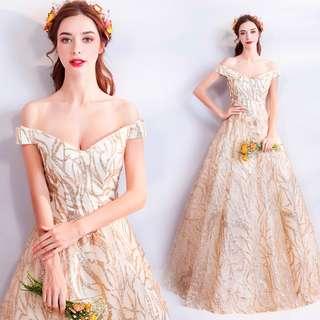 pre order gold glitter off shoulder prom bridesmaid wedding bridal gown dress  RBP0779