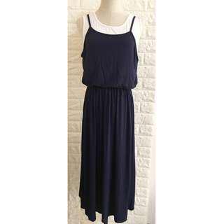 🚚 🔰假兩件縮腰無袖洋裝--深藍