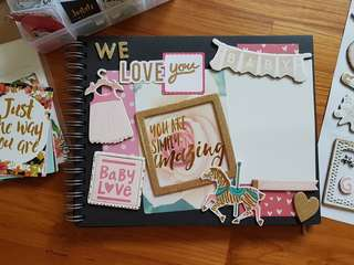 Baby Girl's Baby Shower Guestbook / Frame