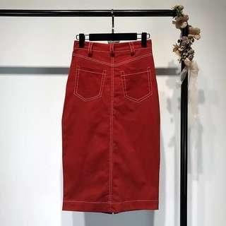 Minimei追加款✪韓系韓版百搭休閒 夏裝新款開叉雙口袋明線裝飾半身裙 高腰中長款裝飾包臀裙子