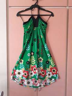 Green halter dress medium
