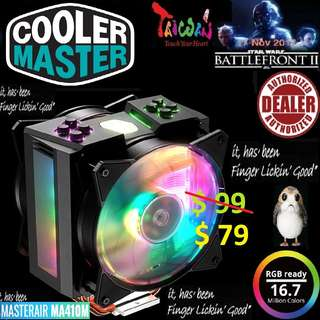 "CoolerMaster MASTERAIR MA410M RGB CPU COOLER - TUF (5 Years Warranty) "" finger lickin' good"""