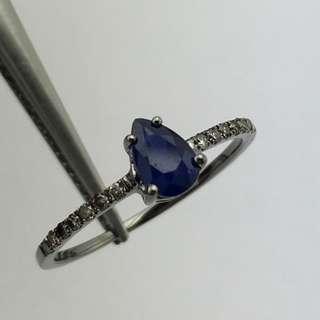 18K黑金戒指 61份藍寶石 12份鑽石 18K Black gold Ring 0.61ct Sapphire 0.12ct Diamond 可議價