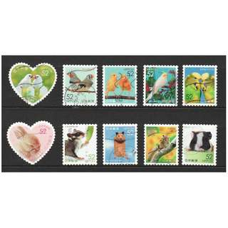 JAPAN 2016 FAMILIAR ANIMALS SERIES 3 (PETS BIRD HAMSTER) 52 YEN COMP. SET OF 10 STAMPS IN FINE USED CONDITION