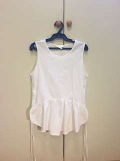 H&M Tie Peplum White Blouse