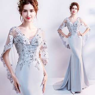 pre order red silver cape bodycon fishtail prom bridesmaid wedding bridal gown dress  RBP0781