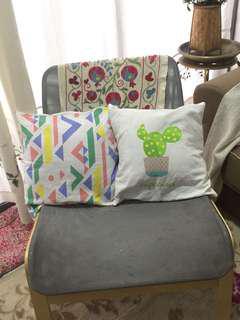cactus & tribal square pillow