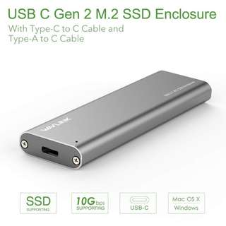 975. Wavlink USB C Gen 2 10Gbps M.2 NGFF SSD Enclosure B Key, USB 3.1 m2 Hard Disk Enclosure Case(Included both USB C and USB 3.0 Cables),Aluminum Design,Support NGFF SSD 2230 2242 2260 2280