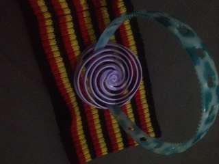 Blue Green-White Flower Hole Headband