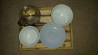 Wooden tray, mason jar, saucer plate, soup bowl