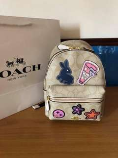 Coach Mini Charlie Signature Backpack with Patches