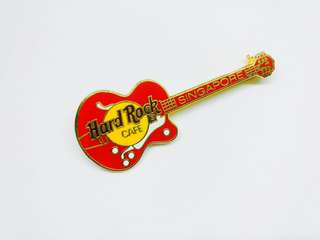 Hard Rock Cafe Pin: Singapore, Red Guitar