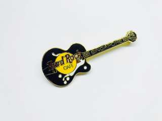 Hard Rock Cafe Pin: Singapore, Black Guitar