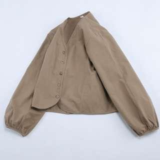 復古卡其花苞袖短外套