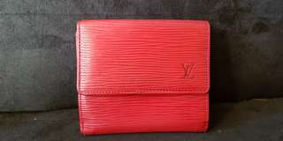 Authentic LV short wallet epi leather red