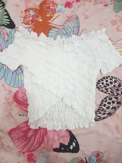White Smocked Off Shoulder Criss Cross Crop Top