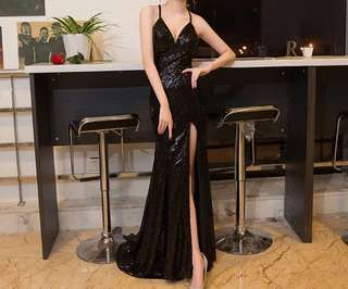 Black Sequin Formal Maxi Dress