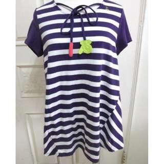 a la sha 條紋紫色 綁帶造型 短袖T恤