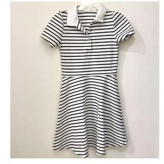 GU Polo衫網眼布超顯瘦橫條洋裝 M號