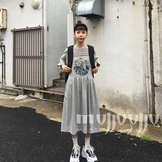 韓國 五分袖洋裝 寬鬆連身裙 印花洋裝 古著 日系 街頭穿搭 慵懶隨性韓系風格 休閒舒服棉 超推特價 孕婦裝 減齡可愛