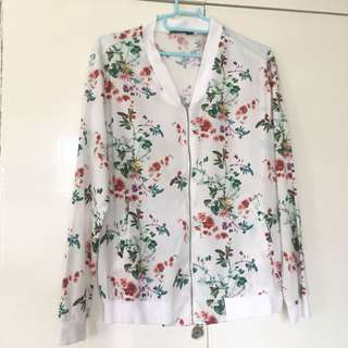 Stradivarius Floral Bomber Jacket