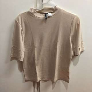 H&M Divided Nude Beige Ribbed Top