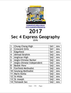 <softcopy> 2017 Sec 4 geography top school exam papers