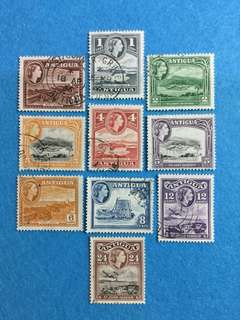 1953 Antigua QE2 Definitive 10 Values Used Short Set