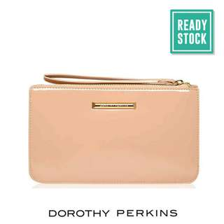 AUTHENTIC DOROTHY PERKINS ZIP TOP WRISTLET CLUTCH (NUDE) DP022