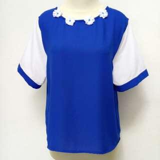 Blouse biru mix putih 💙 #sale#