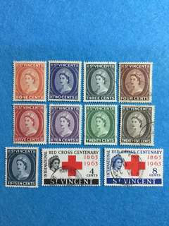 St. Vincent 1955 QE 2 9V Used Short Set and  1963 Red Cross Centenary 2V Used Set (11 Stamps)