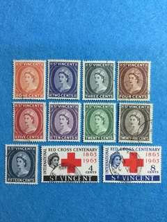 St. Vincent 1955 QE 2 9V Used Short Set and  1963 Red Cross Centenary 2V Used Set (11 Stamps)