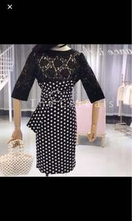 Polkadot korea 2set top+skirt