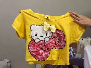 Crop Top Hello Kitty Kuning