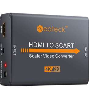 (315) Neoteck Aluminum 4K HDMI to SCART Converter Composite HD Video Stereo Audio Adapter HDMI Input SCART Output Converter with UK Power Adapter for TV DVD SKY HD Blu Ray DVD Apple PS3 etc