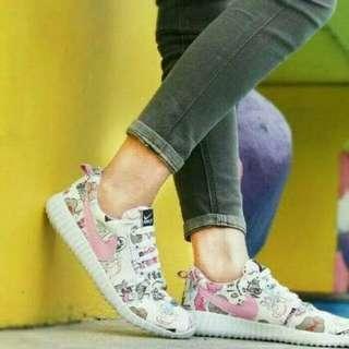 Sepatu wanita kets holland list pink