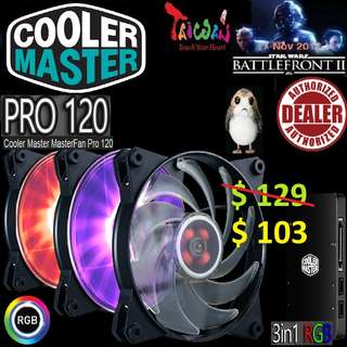 Cooler Master MasterFan PRO 120 Air Flow 3 in 1+RGB Controller. ( 5 Years Warranty )