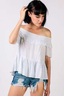 🚚 BNWT Dressabelle Striped Off Shoulder Top (Blue/White)