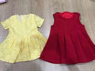 2pcs red & yellow dress 6-12m