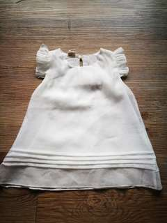 BNWOT White Chiffon Frilly Top