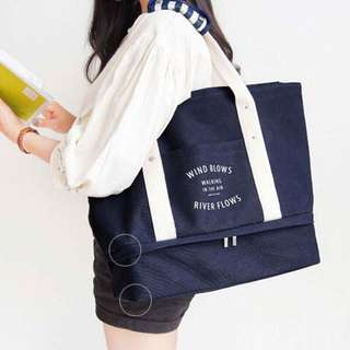Canvas Travel Bag - Navy color