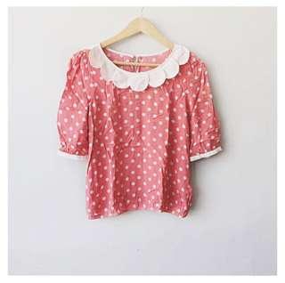 (SALE!) Polka dots peter pan collar blouse