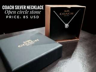 """""""Open Circle Stone"""" Silver Necklace"""