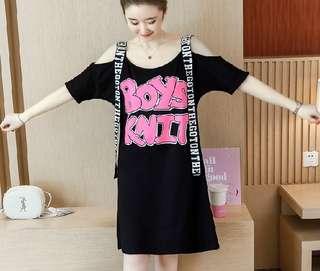80766 #大碼吊带休閒寬鬆連衣裙  颜色: 黑色   尺码: S M L XL 2XL 3XL 4XL