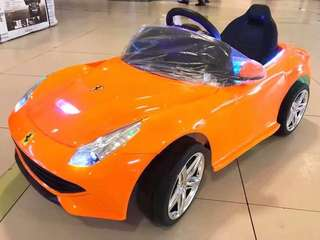 Orange Big Ferrari Rechargeable Ride On Car