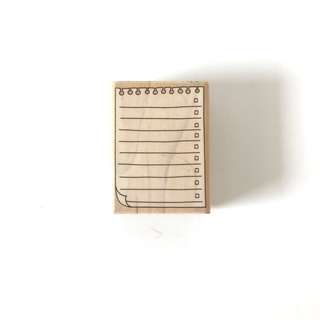 Note pad design wood rubber stamp