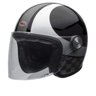 Bell Riot SIZE MEDIUM ONLY Gloss Black Silver Chequer Grey Motorbike Motorcycle Cafe Racer Scooter Moped Open Face Helmet