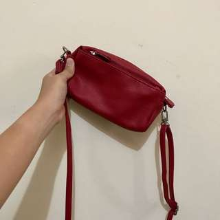 Red Pouch Sling Bag