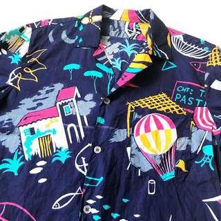 🚚 顛復古⚡️復古夏日童趣圖畫熱氣球古著夏威夷短袖襯衫❤️男女皆可